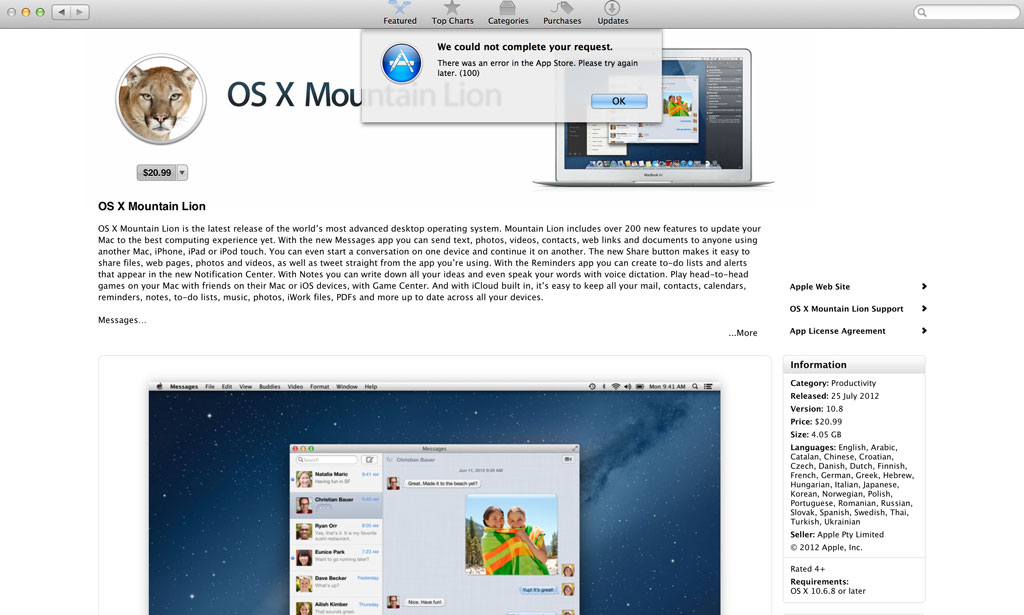 Apple App Shop - Error 100 Screenshot - OS X Mountain Lion
