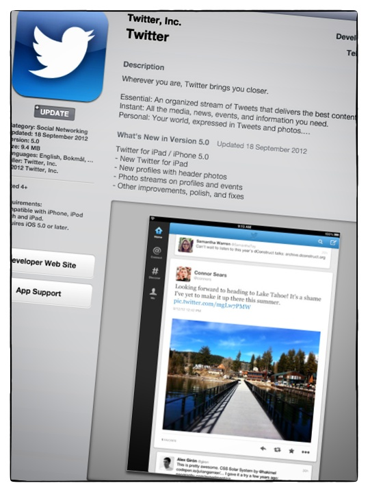 New Twitter app in the iTunes store