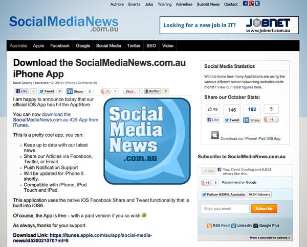 Social Media News iOS app